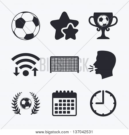 Football icons. Soccer ball sport sign. Goalkeeper gate symbol. Winner award cup and laurel wreath. Wifi internet, favorite stars, calendar and clock. Talking head. Vector