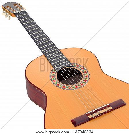 Classical guitar fingerboard with frets and nylon strings, zoomed view. 3D graphic