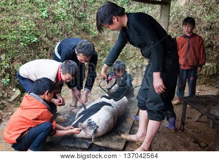 HA GIANG, VIETNAM, February 11, 2016 the group of people, Ha Giang mountainous regions, pork food festival