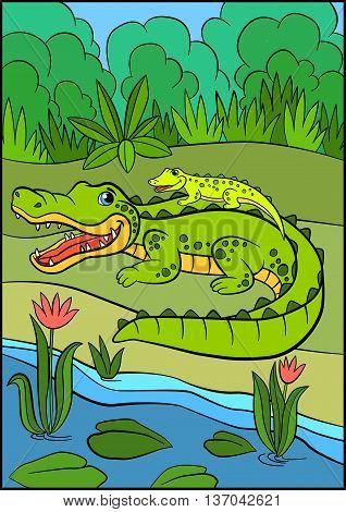 Cartoon Animals For Kids. Mother Alligator With Her Little Cute Baby Alligator.