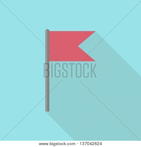 Red flag on blue background. Icon with long shadow. Flat design. Vector illustration. EPS 8 no transparency