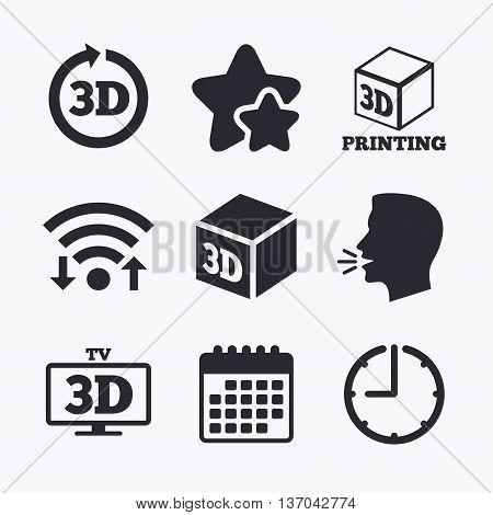 3d tv technology icons. Printer, rotation arrow sign symbols. Print cube. Wifi internet, favorite stars, calendar and clock. Talking head. Vector