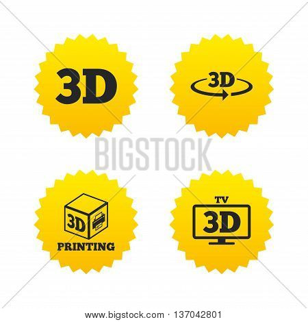 3d technology icons. Printer, rotation arrow sign symbols. Print cube. Yellow stars labels with flat icons. Vector