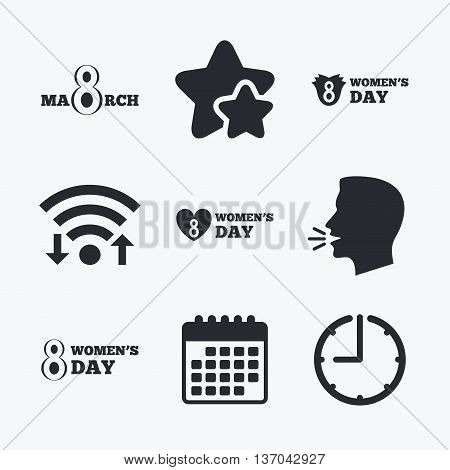 8 March Women's Day icons. Tulips or rose flowers bouquet and heart sign symbols. Wifi internet, favorite stars, calendar and clock. Talking head. Vector