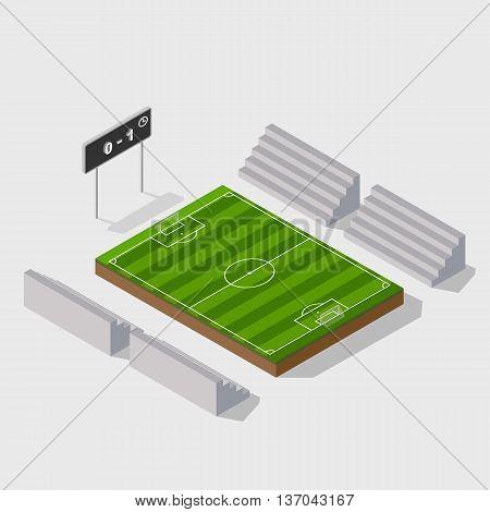 3d isometric soccer field with scoreboard. vector