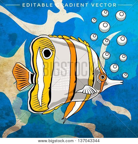 Fish in aquarium. Bright colorful vector illustration.