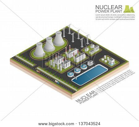 Isometric Nuclear power plant on the white background, vecor