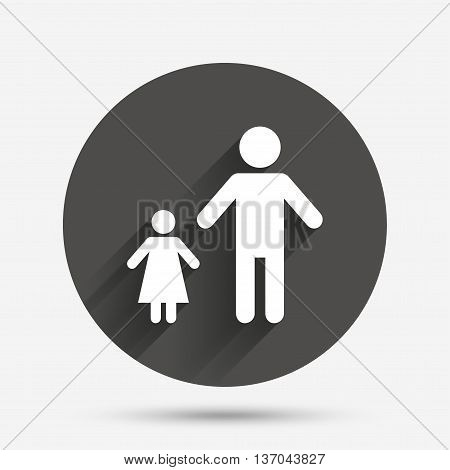 One-parent family with one child sign icon. Father with daughter symbol. Circle flat button with shadow. Vector