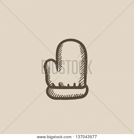 Santa mitten vector sketch icon isolated on background. Hand drawn Santa mitten icon. Santa mitten sketch icon for infographic, website or app.