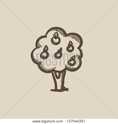 Fruit tree vector sketch icon isolated on background. Hand drawn Fruit tree icon. Fruit tree sketch icon for infographic, website or app.