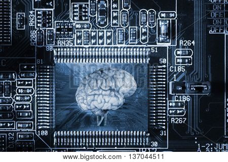 Human brain and technology communication and artificial intelligence, shallow depth of field