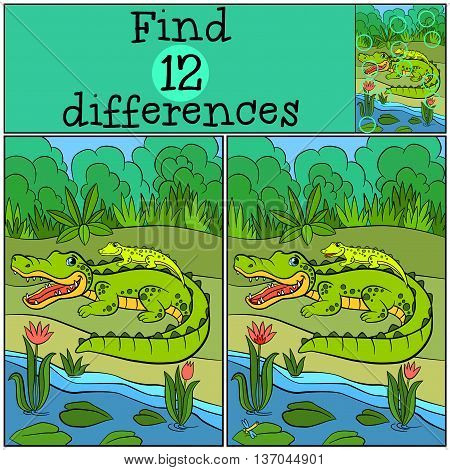 Children Games: Find Differences. Mother Alligator With Her Little Cute Baby Alligator.