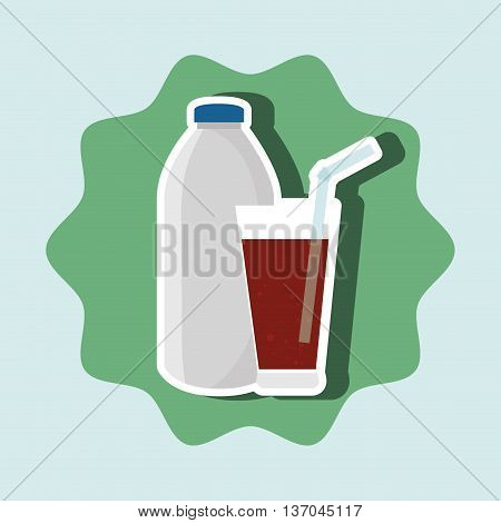 soda bottle and glass isolated icon design, vector illustration  graphic