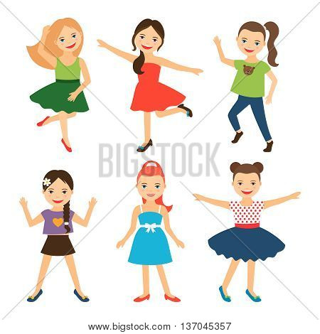 Little girl characters. Vector happy little girls