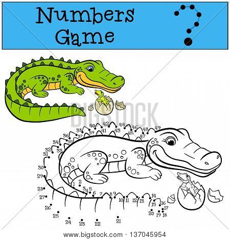 Educational Games For Kids: Numbers Game. Mother Alligator With Her Little Cute Baby Alligator.