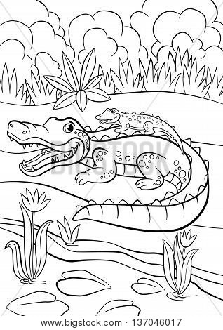 Coloring Pages. Animals. Mother Alligator With Her Little Cute Baby Alligator.