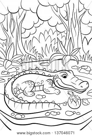 Coloring Pages. Animals. Mother Alligator Looks At Her Little Cute Baby Alligator.