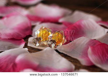 Pink petals and earrings jewelry women's beauty