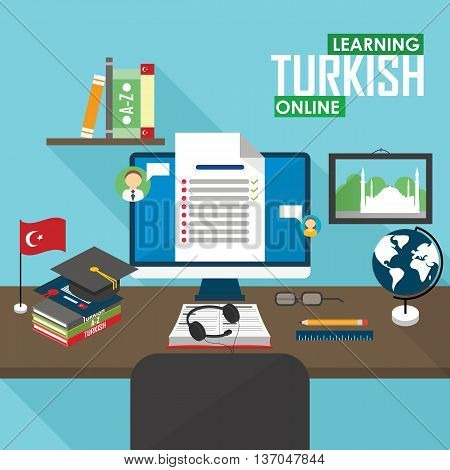 Flat design vector illustration concept of learning Turkish language online, distance education and online training courses. Turkish online.