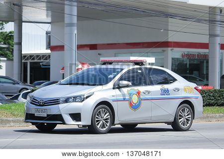 CHIANGMAI THAILAND -JUNE 28 2016: Police Car of Tourist Police.Toyota Corolla Altis. Photo at road no 1001 about 8 km from downtown Chiangmai thailand.