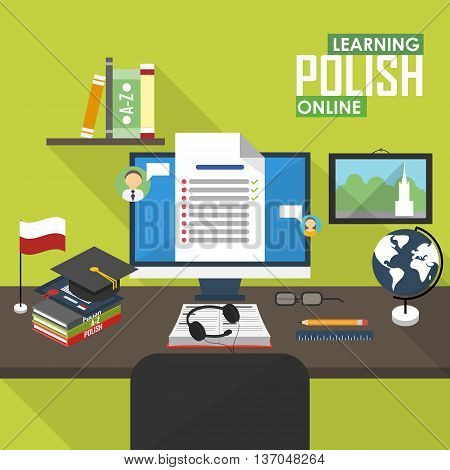 Flat design vector illustration concept of learning Polish language online, distance education and online training courses. Polish online.