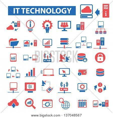 it technology, connection, communication, link, internet, online, phone, computer network, hosting, system administration, router, laptop, tower, antenna, equipment, lan, broadcasting icons vector