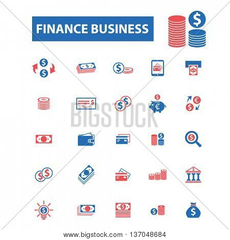 finance business consulting, financial consultant, lawyer, legal agency, businessman, analytics, calculator, office, credit, piggy icons, signs vector