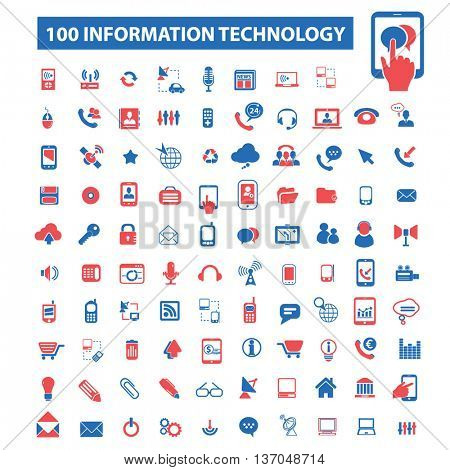 information technology, big data, database, analysis, storage, hosting, safety, trust, cloud computing, program coding, development, network, system administration icons. Vector illustration