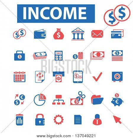 income, investment, bank, trading, investor, wealth, deposit, market, payment, bankir, cash, finance, money, check, wallet icons, signs vector concept set for mobile, website, application