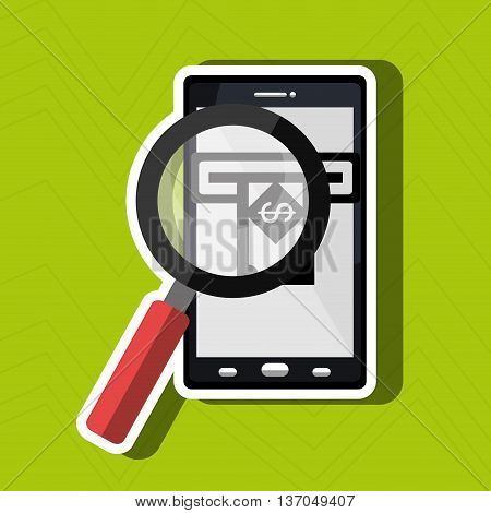 searching money online isolated icon design, vector illustration  graphic