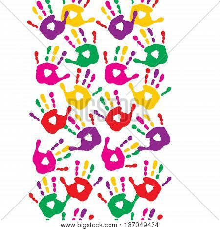 The seamless pattern with a colorful handprints