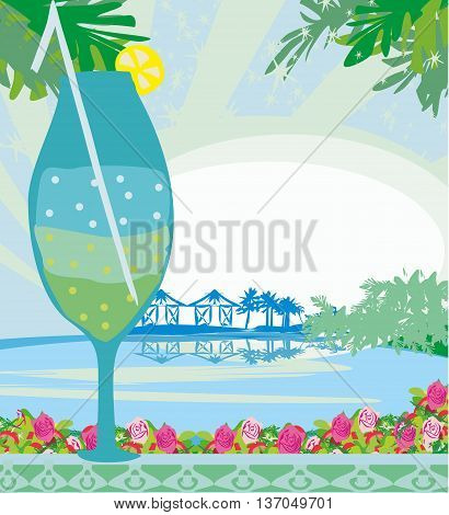 Invitation To Cocktail Party on tropical landscape , vector illustration