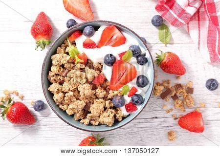 bowl with muesli,berry and yogurt