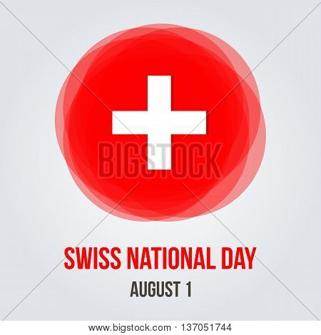 Swiss national day abstract flat design vector greeting card, poster.