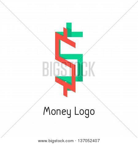 money logotype with colored dollar sign. concept of corporate credit, e-commerce, deposit, abundance, economy, usd mark, finance sector. flat style modern logo design eps10 vector illustration