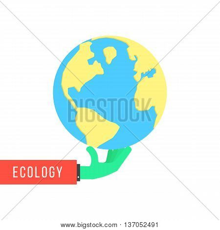 green hand with earth like environmental protection. concept of happy earth day, eco friendly, global warming, continental, humanity, travel, ecosystem. flat style modern design vector illustration
