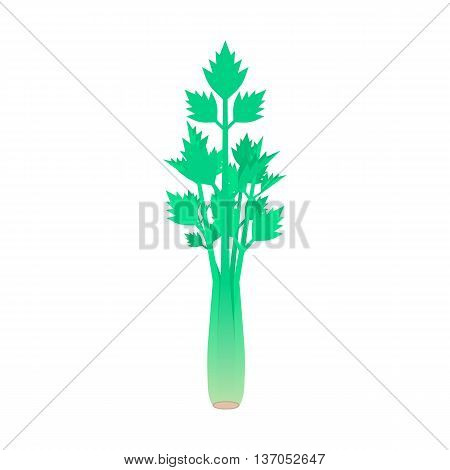 celery stem isolated on white background. concept of spring culinary, greenery, gourmet cuisine, vegetative smoothie, nourishment, balanced invalid food. flat style modern design vector illustration