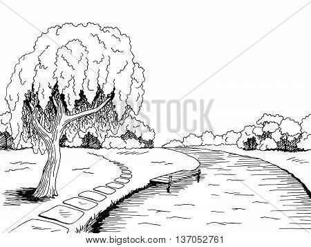 Park river willow tree graphic art black white landscape sketch illustration vector