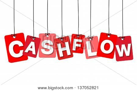 Vector colorful hanging cardboard. Tags - cashflow on white background
