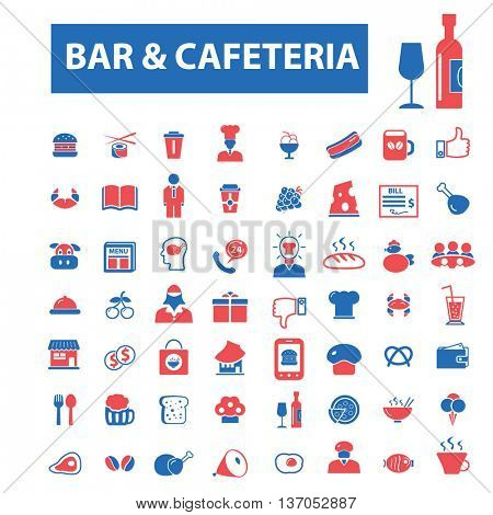bar, cafe, beer pub, restaurant, cafeteria, coffee, beverage, breakfast, lunch, eating, tea, dinner icons, signs, vector