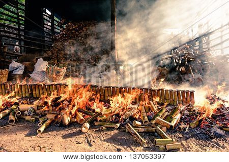 Thai food glutinous rice roasted made from bamboo tubes khoalam
