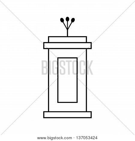 outline black tribune icon isolated on white background. concept of voting, announcement, leadership, interview, journalism, politics, president, narrator. flat style modern design vector illustration