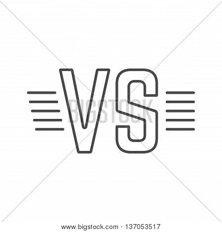 grey outline versus sign like opposition. concept of confrontation, retro mark, together, standoff, final fighting. isolated on white background. flat style modern logotype design vector illustration