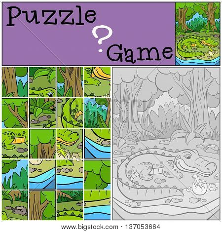 Education Games For Kids. Puzzle. Mother Alligator With Her Little Cute Baby Alligator.