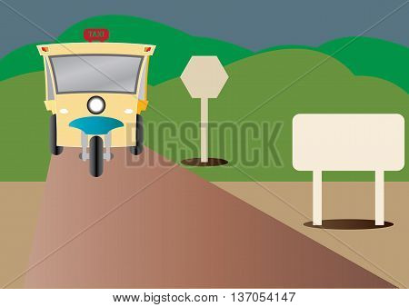 Modern design of Three wheel Motor or Tuktuk with road from mountain and blank road sign