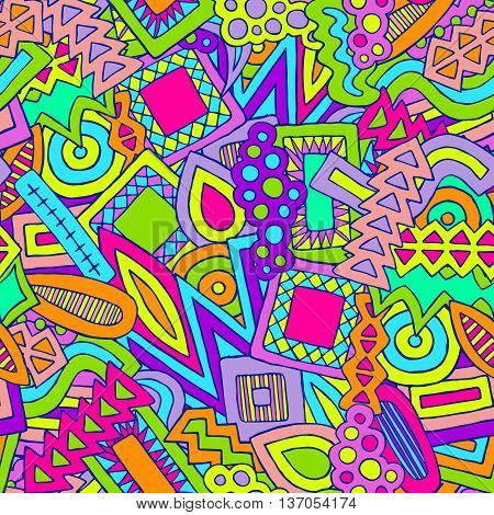Doodle Abstract Ethnic Elements Pattern Colorful 1