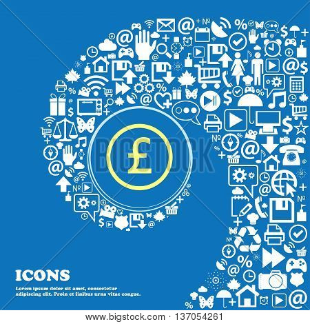 Pound Sterling Icon Sign . Nice Set Of Beautiful Icons Twisted Spiral Into The Center Of One Large I