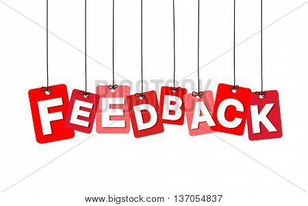 Vector colorful hanging cardboard. Tags - feedback on white background