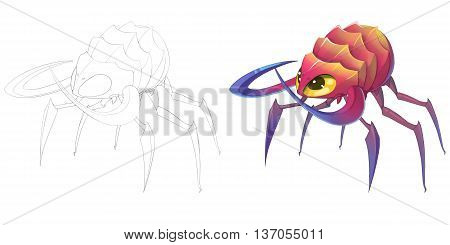 Spider Knife Claw Creature. Coloring Book, Outline Sketch, Monster Mascot Character Design isolated on White Background