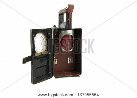 portrait of isolated on white vintage railroad lantern